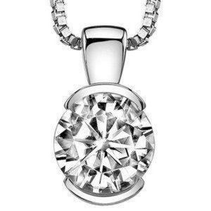 Jewelry - Solitaire Round Cut Diamond Ladies Pendant White G